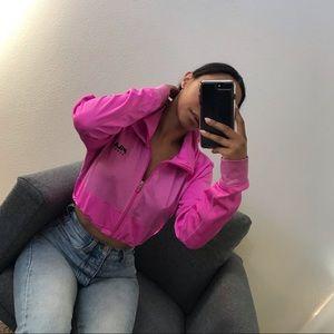 Pink FILA drawstring crop zip hoodie